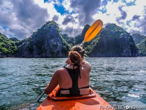 Shelley at the front of our Kayak at Halong Bay, Vietnam.