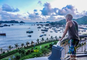 Cat Ba accommodation balcony view. Halong Bay, Vietnam.