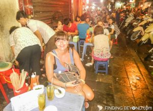 Shelley at one of Hanoi's many cheap street restaurants