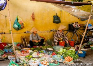 Vegetable stall in Hanoi city center, Vietnam.