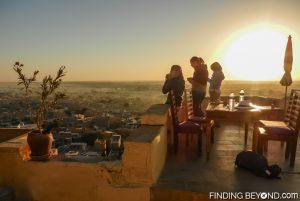 Sunrise breakfast on the Jaisalmer Fort guesthouse terrace