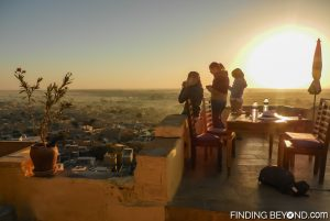 Sunrise breakfast on the Jaisalmer Fort guesthouse terrace