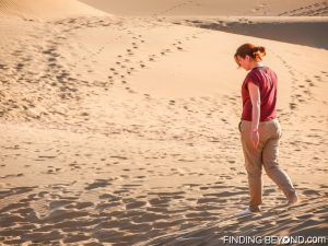 Shelley enjoying the sand between her toes in the Thar Desert, India.