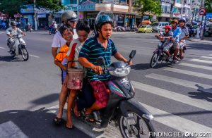 Whole families sharing one moped is a common site in Vietnam
