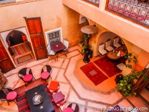 Our traditional riad looking into the central courtyard from our room.