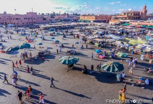 Jemaa el-fna during the day. Marrakech, Morocco.