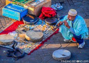 Snake charmer at Jemaa el-Fna, Marrakech.