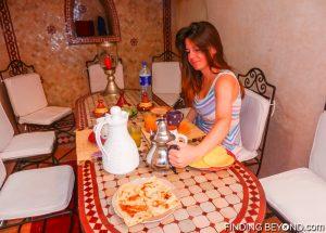 Shelley enjoying breakfast at our riad