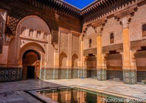 Central courtyard inside Ben Youssef Medersa, Marrakech.