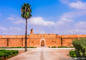 Inside the expansive courtyard of the ruined Badii Palace, Marrakech.