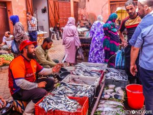 Selling fresh fish at a local Souk in Marrakech, Morocco