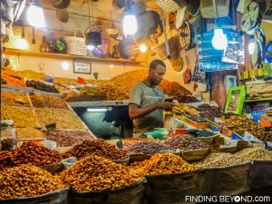 Nut and dried fruit seller in one of Marrakesh's many Souks.