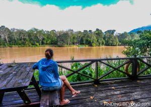 Shelley enjoying the river views at the lodge. Discovering Jungle Wildlife Along Borneo's Kinabatangan River.