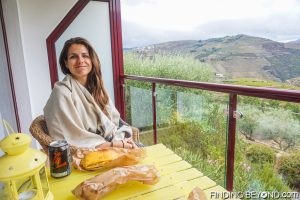 Shelley enjoying the view from our room. Our guide to the Douro Valley, Portugal.