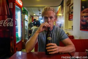 Me trying a local Ginger Beer, Negombo, Sri Lanka. Things to do in Negombo Beach? Don't Expect Much.