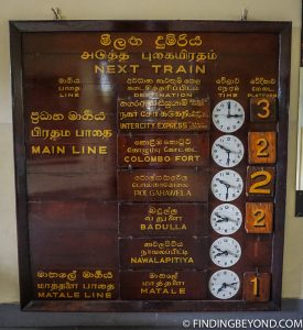 We loved this old school departure board. Riding the Scenic Kandy to Ella Train - Sri Lanka Railway