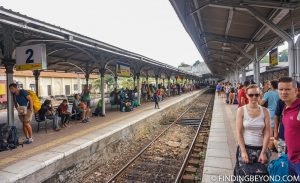 Busy platform full of tourists. Riding the Scenic Kandy to Ella Train - Sri Lanka Railway