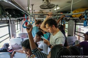 Our busy carriage. Riding the Scenic Kandy to Ella Train - Sri Lanka Railway.