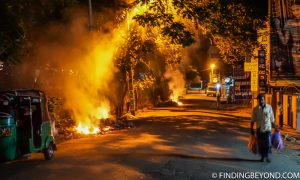 On one of the nights many residents burned their rubbish on the roadsides. Kandy, Sri Lanka. Top 5 Things to do in Kandy City in One Day.