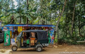 Typical local store and tuk tuk. Mountains in Sri Lanka - Little Adams Peak: A Photo Journey