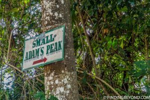 The only sign to Small Adam's Peak. Mountains in Sri Lanka - Little Adams Peak: A Photo Journey.