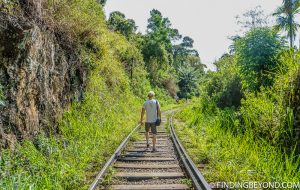 At the start of our train track trek. Hiking in Sri Lanka is a must when visiting the island and Ella Rock is a highland highlight. We documented our climb to the top with some wonderful photos.