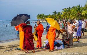 Locals on the Eastern end of Pasikuda beach. Kalkudah and Pasikuda Beaches - Sri Lanka.