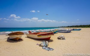 Fishing boats on Kalkudah beach. Kalkudah and Pasikuda Beaches - Sri Lanka.