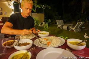 Many vegetable curries for dinner! Kalkudah and Pasikuda Beaches - Sri Lanka.