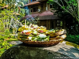Buddhist offerings in Ubud