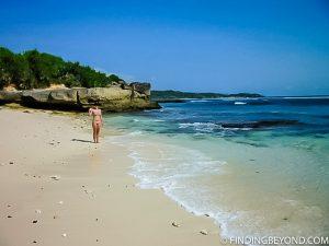 Shelley enjoying a private beach on Nusa Lemongan
