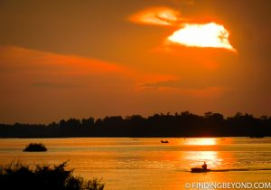 Sunset at Don Det in 4000 Islands Laos