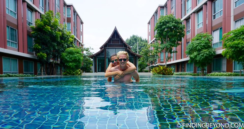 Taking a break in our Chiang Mai apartment pool