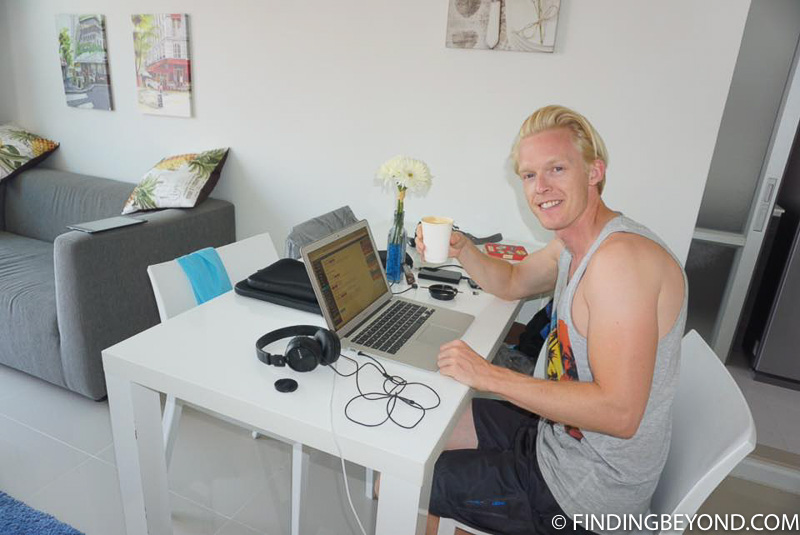 Me being a digital nomad in our Chiang Mai apartment