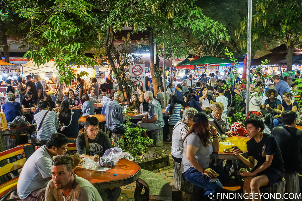 Street food courtyard at the Sunday walking street in Chiang Mai