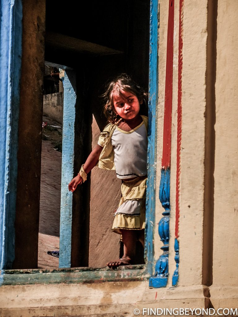 Indian photo of girl in doorway