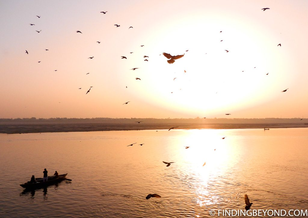 Indian photo of sunset over river Ganges Varanasi