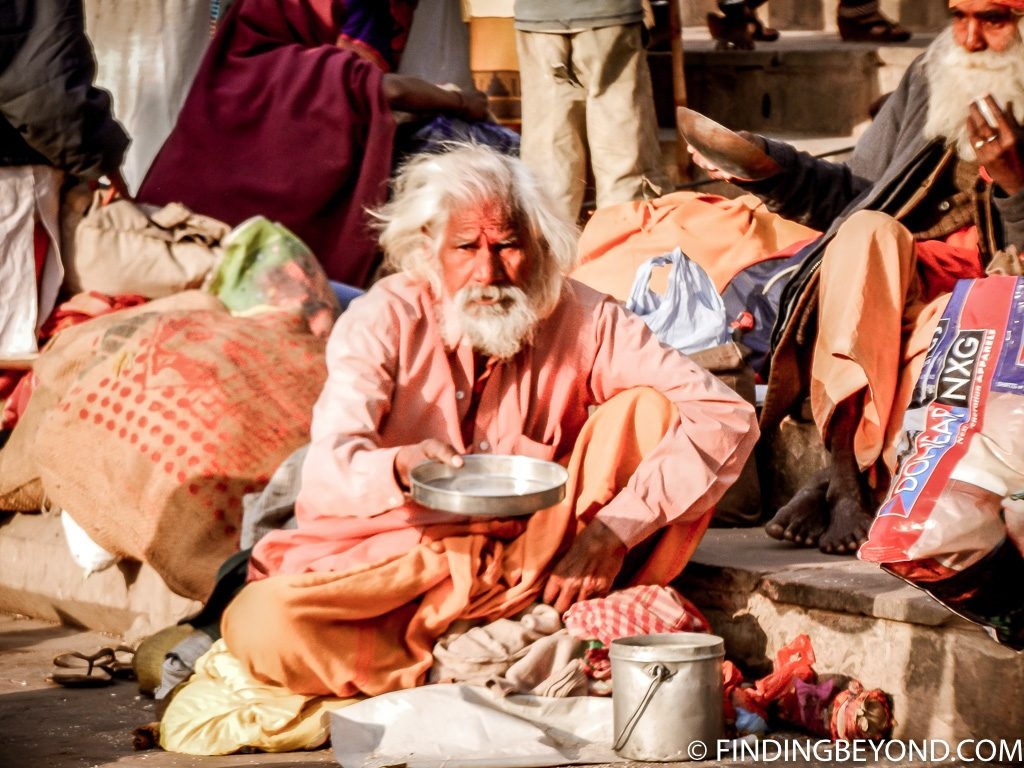 Indian photo of beggar in varanasi