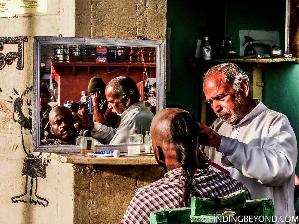 Indian photo of varanasi barber shop