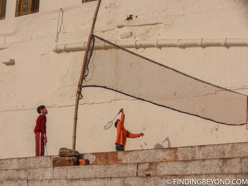 Indian photo of game of Badminton on river ganges varanasi