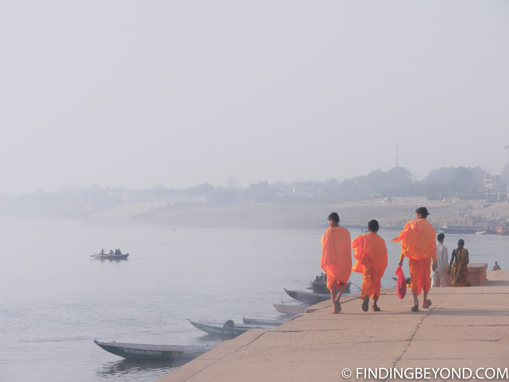 Indian photo of monks on river Ganges Varanasi