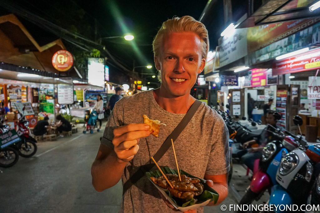 Trying a noodle salad at Pai Walking Street Market