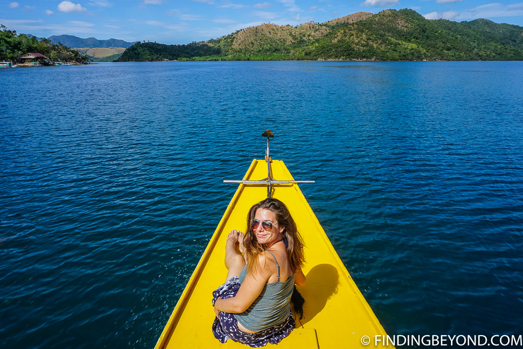 Shelley with the best seat on the boat while Coron Island Hopping