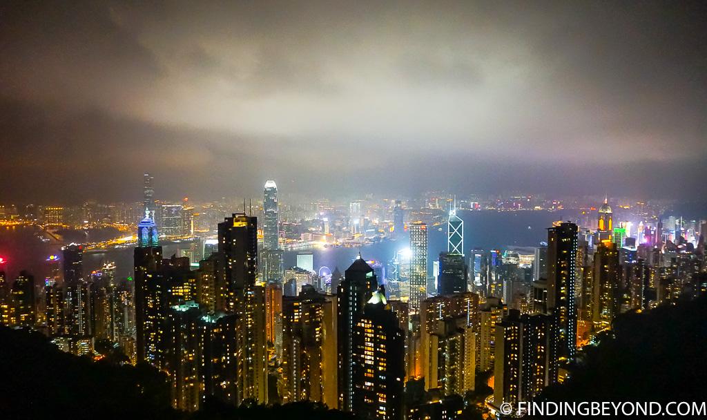 Hong Kong Night View Victoria Peak at Night