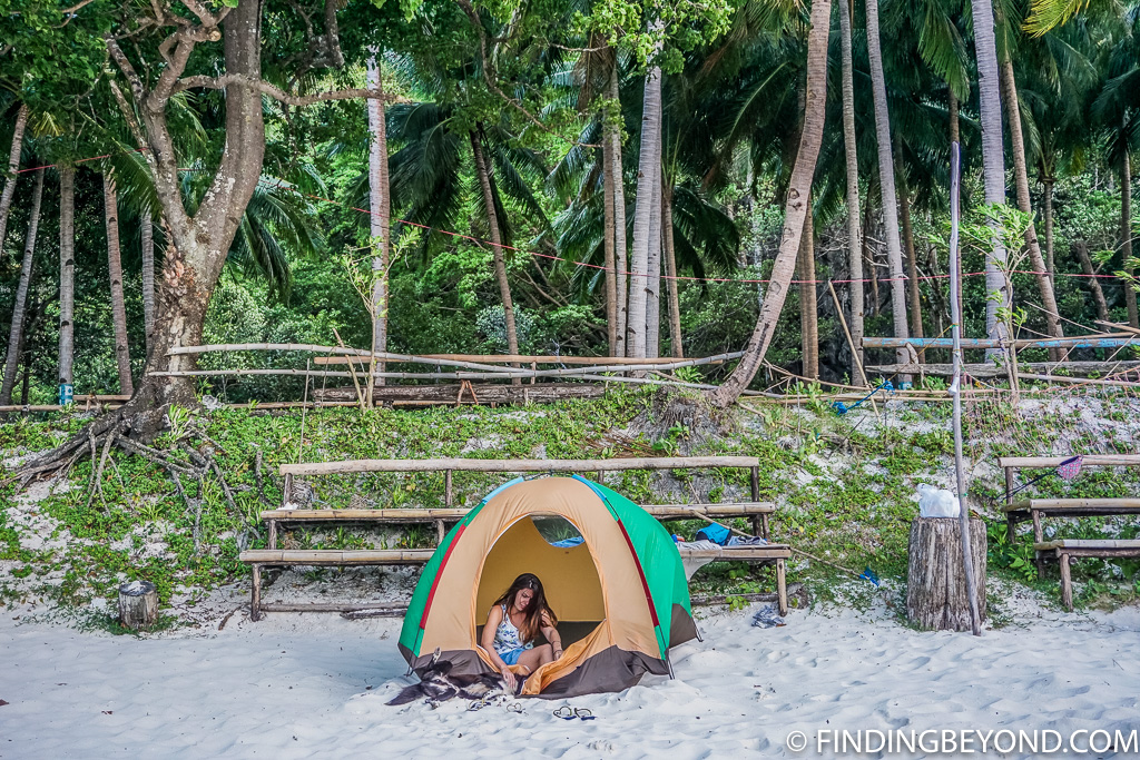 Our El Nido camping tent on Papaya Beach