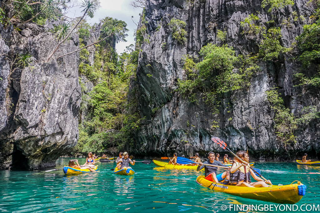 Kayakers at Small Lagoon on our El Nido trip
