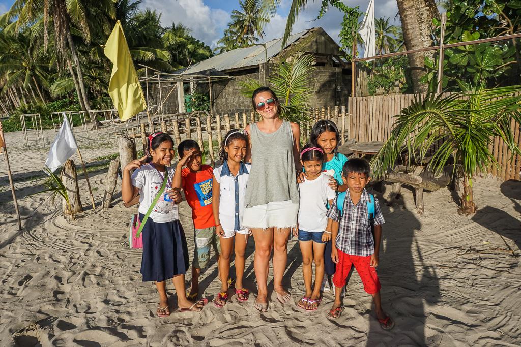 Friendly kids at Alimanguan Beach on Long Beach San Vicente Palawan