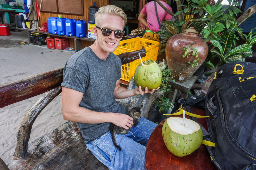 Checking in with a free coconut and kitten!