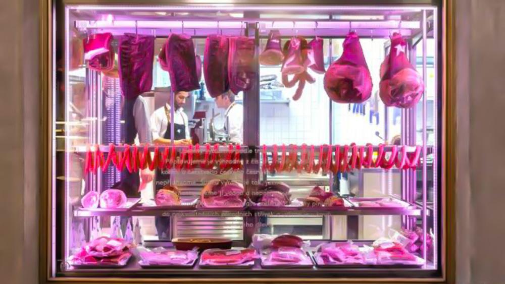 Meat window display at Nase Maso, Prague.