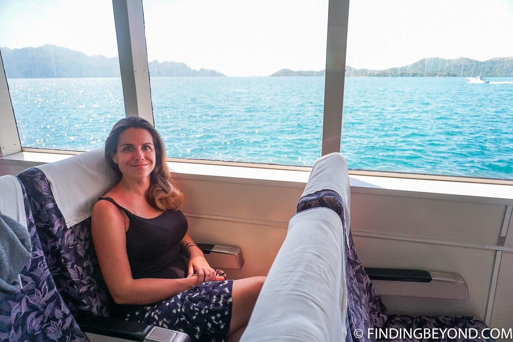 Shelley on the fast boat from Coron Island to El Nido